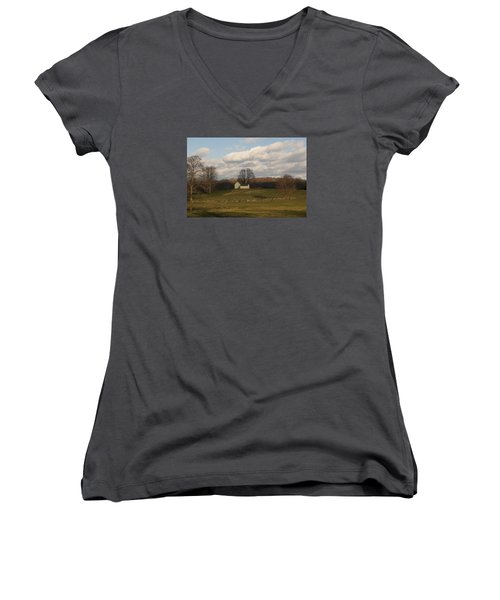 Women's V-Neck T-Shirt (Junior Cut) featuring the photograph Autumn Barn On The Meadow by Margie Avellino