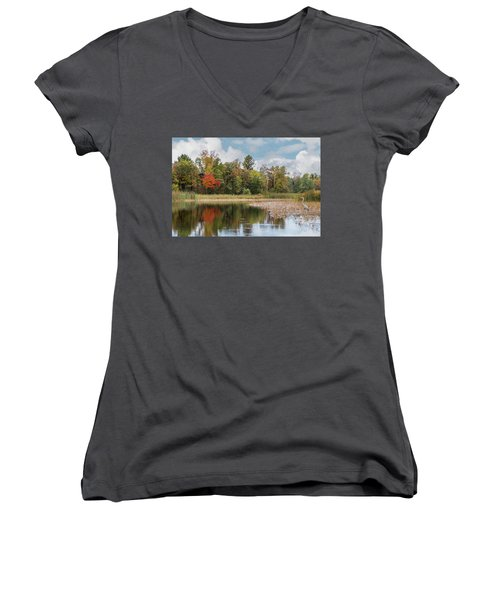 Autumn Blue Heron Women's V-Neck