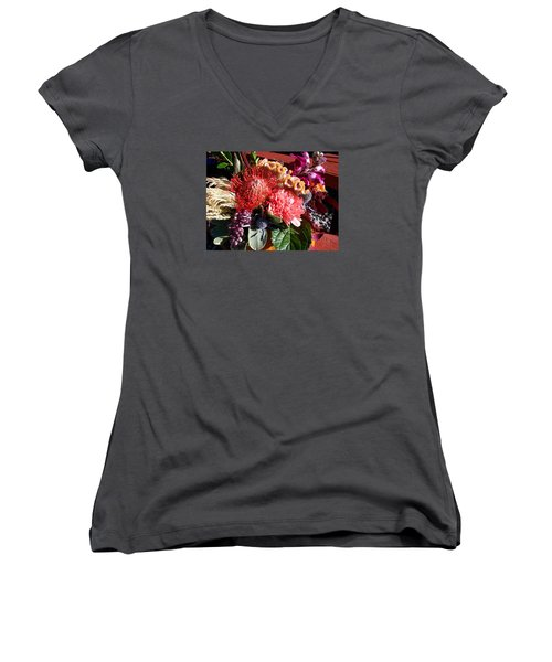 Autumn Bouquet Women's V-Neck T-Shirt (Junior Cut) by Sharon Duguay