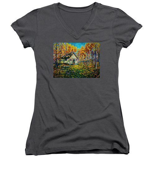 Autumn Cabin Trip Women's V-Neck T-Shirt
