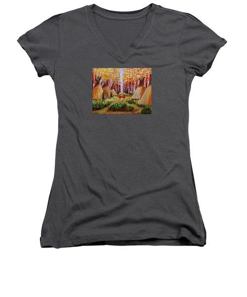 Autumn Camp Women's V-Neck T-Shirt (Junior Cut) by Mike Caitham