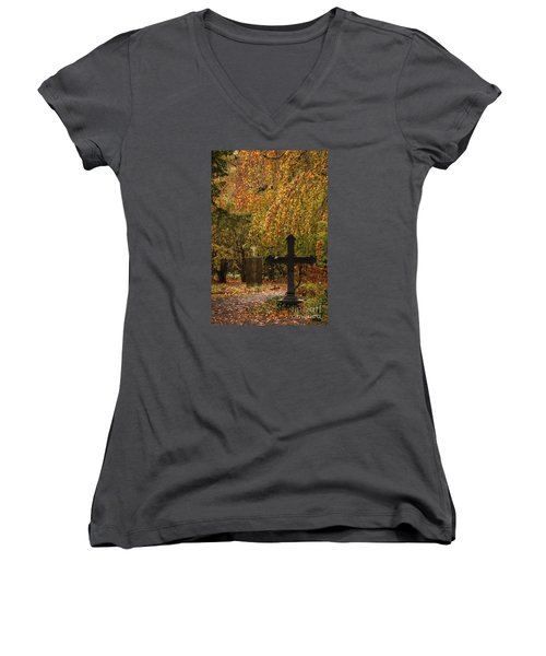 Women's V-Neck T-Shirt (Junior Cut) featuring the photograph Autumn Cemetary by Inge Riis McDonald