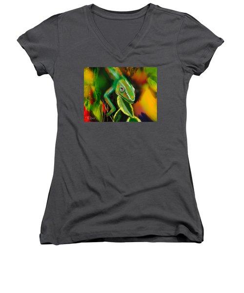 Autumn Chameleon Women's V-Neck T-Shirt (Junior Cut) by Diana Riukas