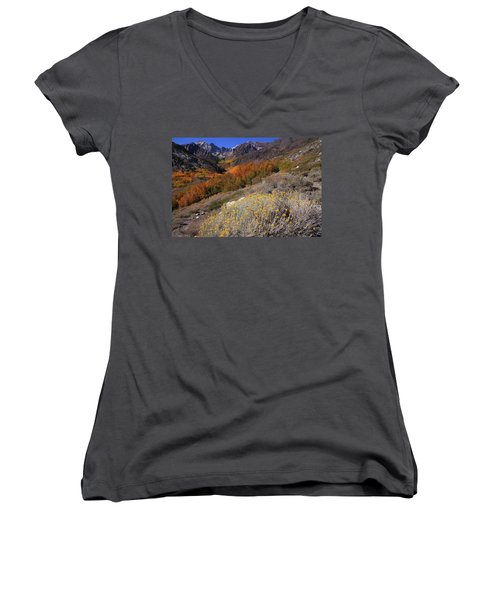 Autumn Colors At Mcgee Creek Canyon In The Eastern Sierras Women's V-Neck (Athletic Fit)