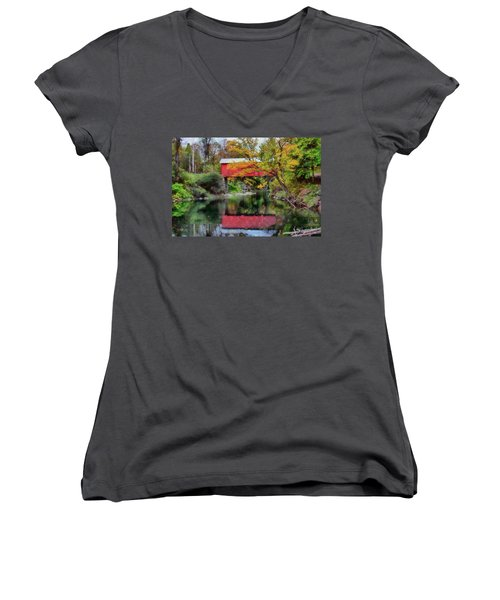 Autumn Colors Over Slaughterhouse. Women's V-Neck
