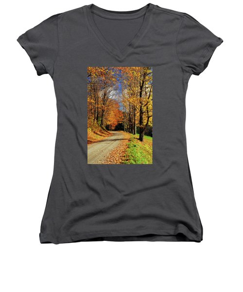 Autumn Country Road Women's V-Neck (Athletic Fit)