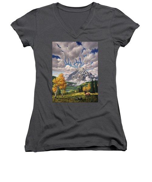 Autumn Echos Women's V-Neck T-Shirt (Junior Cut) by Jerry LoFaro