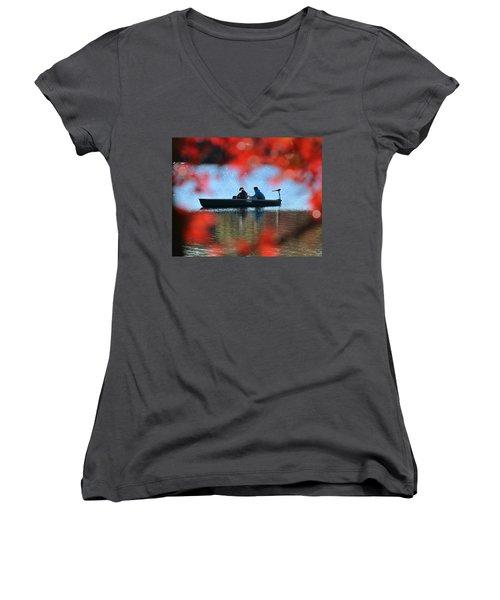 Autumn Fishing Smithtown New York Women's V-Neck T-Shirt (Junior Cut) by Bob Savage