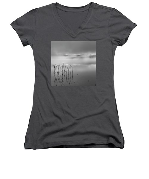 Women's V-Neck T-Shirt (Junior Cut) featuring the photograph Autumn Fog Black And White Square by Bill Wakeley
