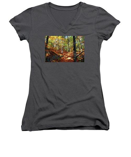 Autumn Forest Killarney Women's V-Neck T-Shirt (Junior Cut) by Debbie Oppermann