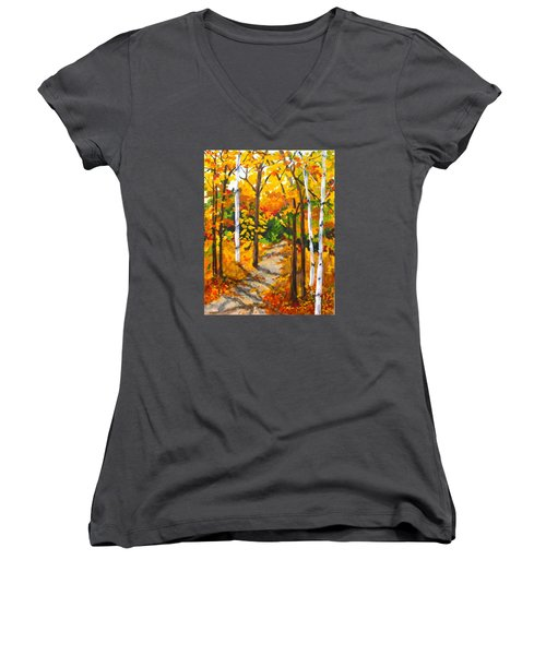 Autumn Forest Trail Women's V-Neck T-Shirt