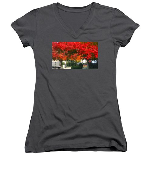 Autumn Fresno Women's V-Neck T-Shirt (Junior Cut)