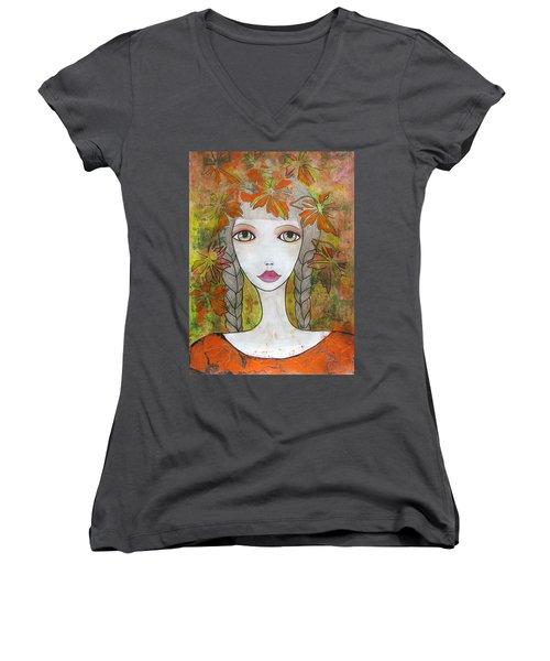 Autumn Girl  Women's V-Neck T-Shirt