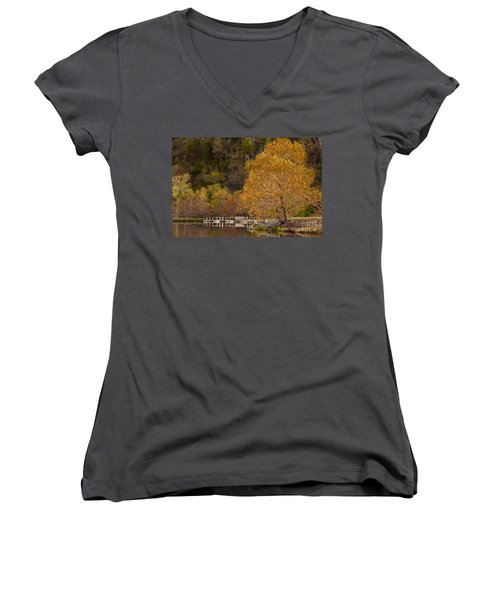 Autumn Glory In Beaver's Bend Women's V-Neck T-Shirt (Junior Cut) by Tamyra Ayles