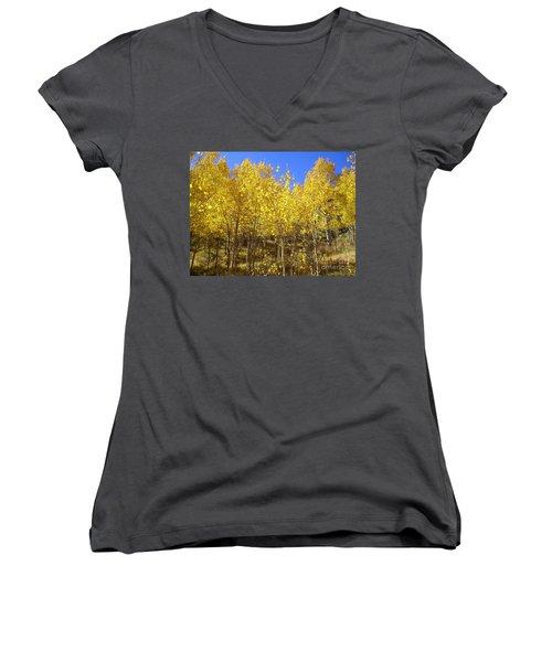 Autumn Gold Women's V-Neck T-Shirt (Junior Cut) by Ellen Heaverlo