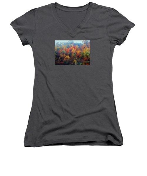 Autumn Hill Aglow Women's V-Neck T-Shirt (Junior Cut) by Diane Alexander