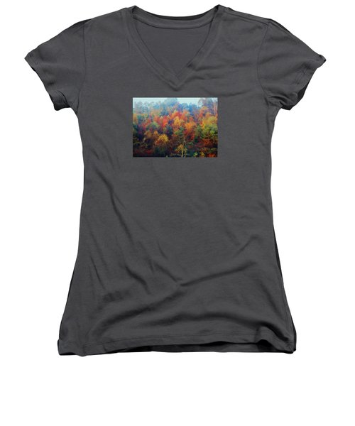 Autumn Hill Aglow Women's V-Neck T-Shirt