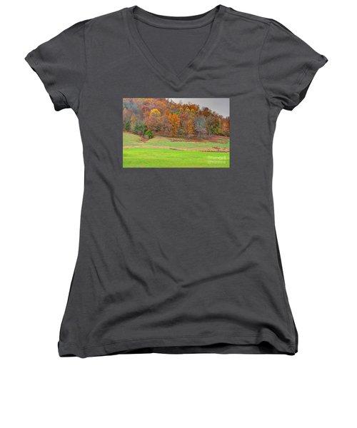 Autumn Hillside Women's V-Neck