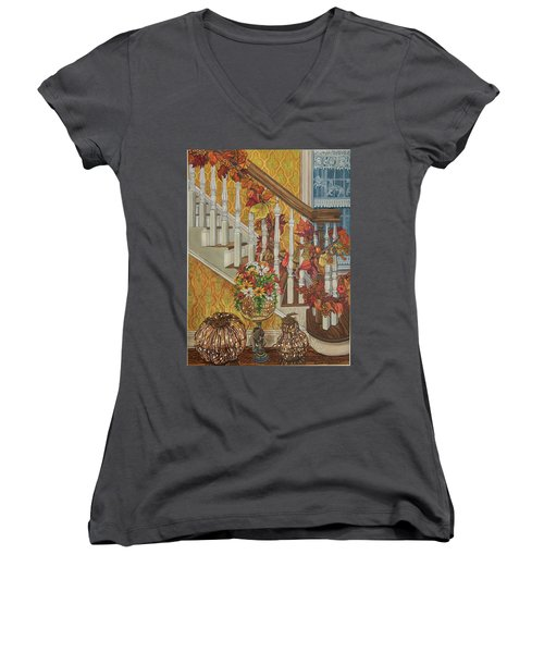 Autumn Hues Women's V-Neck T-Shirt (Junior Cut) by Bonnie Siracusa