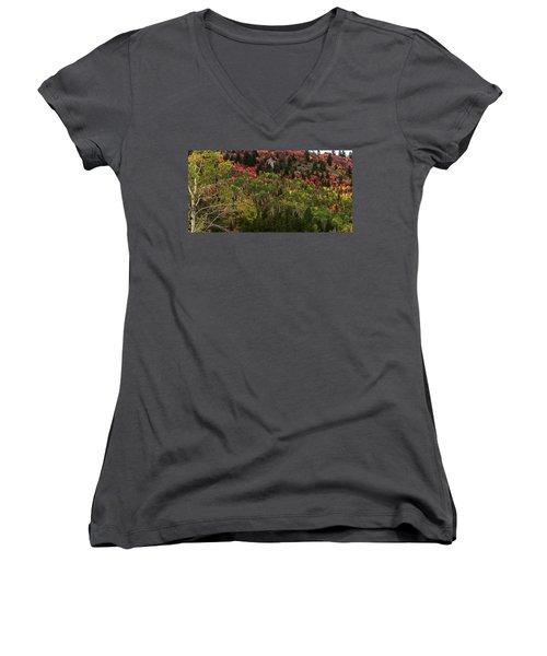 Autumn In Idaho Women's V-Neck T-Shirt (Junior Cut) by Yeates Photography