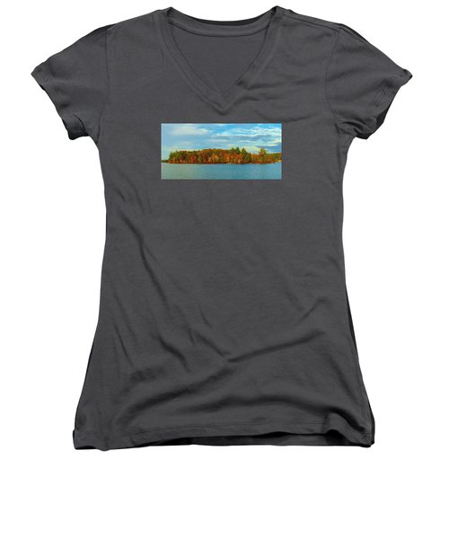 Autumn In Maine Women's V-Neck (Athletic Fit)