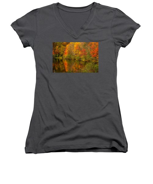 Autumn In Monroe Women's V-Neck T-Shirt (Junior Cut) by Karol Livote