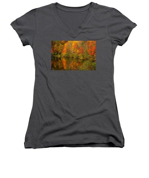 Autumn In Monroe Women's V-Neck T-Shirt (Junior Cut)