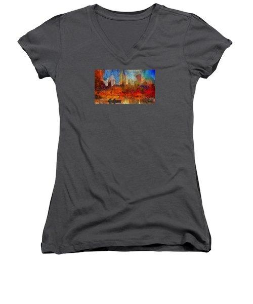Autumn In New York Women's V-Neck T-Shirt (Junior Cut) by Ted Azriel