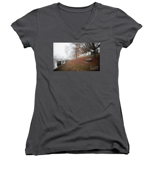 Autumn In River Cam Women's V-Neck T-Shirt