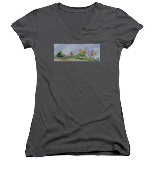Women's V-Neck T-Shirt (Junior Cut) featuring the painting Autumn In Rural Ohio by Mary Haley-Rocks
