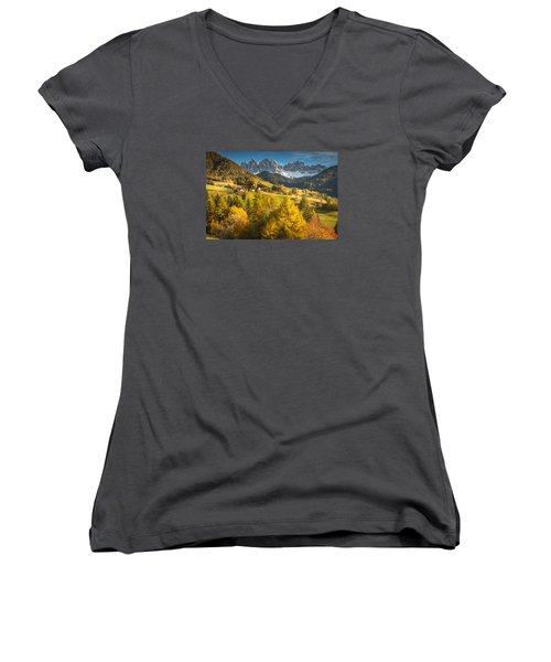 Autumn In The Alps Women's V-Neck T-Shirt