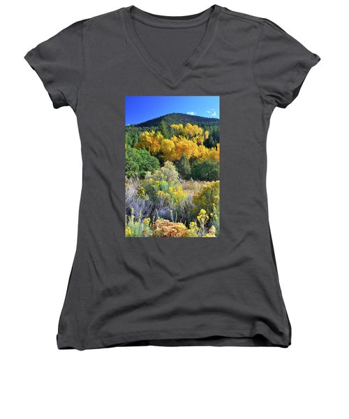 Women's V-Neck featuring the photograph Autumn In The Canyon by Ron Cline