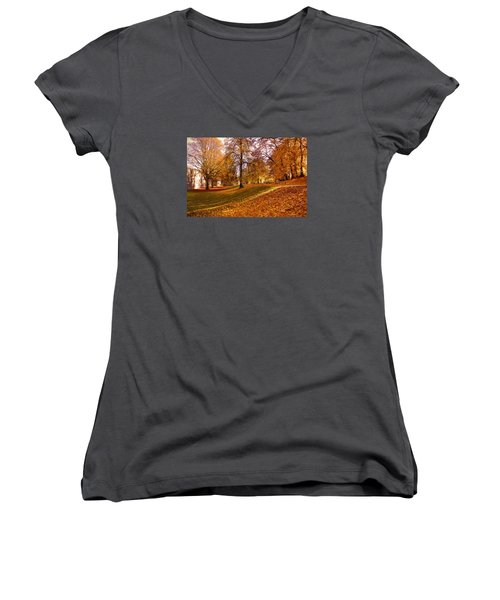 Women's V-Neck T-Shirt (Junior Cut) featuring the photograph Autumn In The City Park Maastricht by Nop Briex