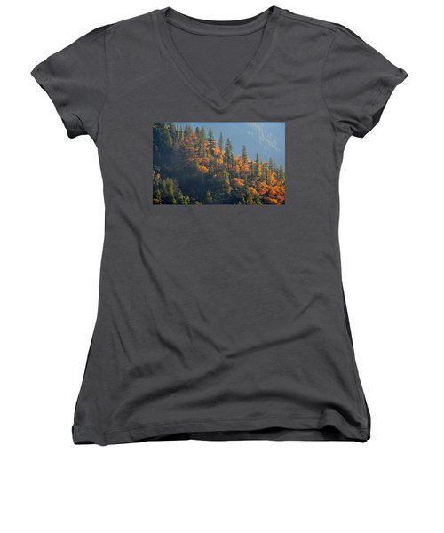 Autumn In The Feather River Canyon Women's V-Neck T-Shirt (Junior Cut)