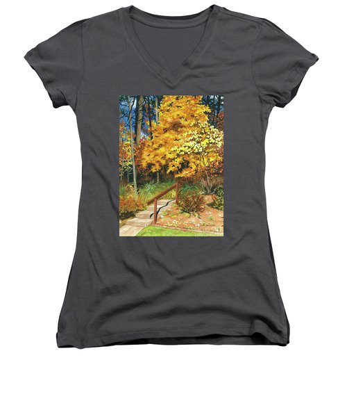 Women's V-Neck T-Shirt (Junior Cut) featuring the painting Autumn Invitation by Barbara Jewell