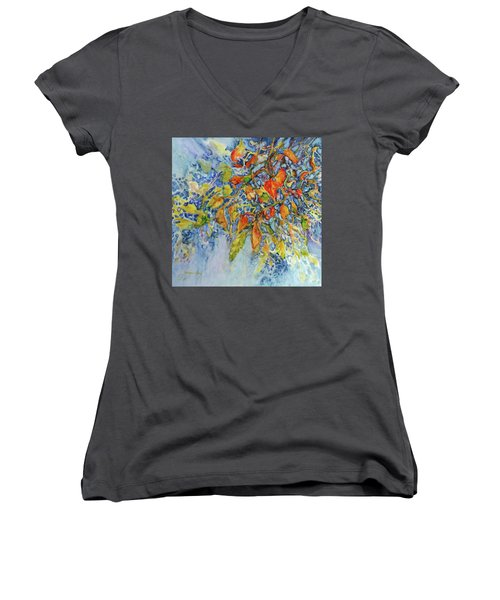 Women's V-Neck T-Shirt (Junior Cut) featuring the painting Autumn Lace by Joanne Smoley