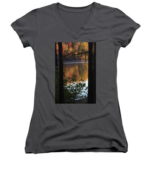 Women's V-Neck T-Shirt featuring the photograph Autumn Lake by Vadim Levin