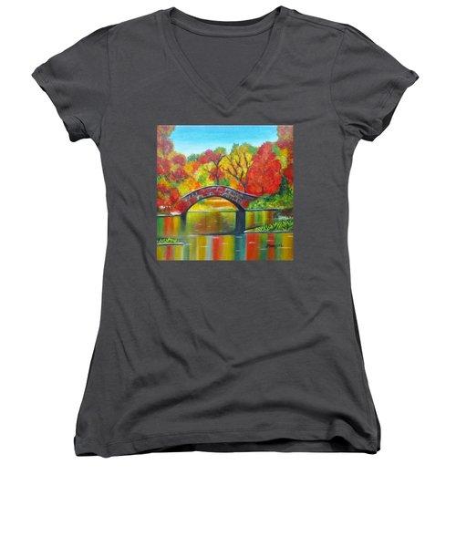 Autumn Landscape -colors Of Fall Women's V-Neck (Athletic Fit)