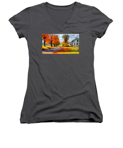 Autumn Landscape Women's V-Neck T-Shirt (Junior Cut) by Sergey Lukashin