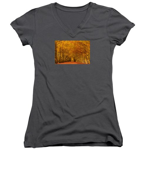 Autumn Lane In An Orange Forest Women's V-Neck T-Shirt (Junior Cut) by IPics Photography