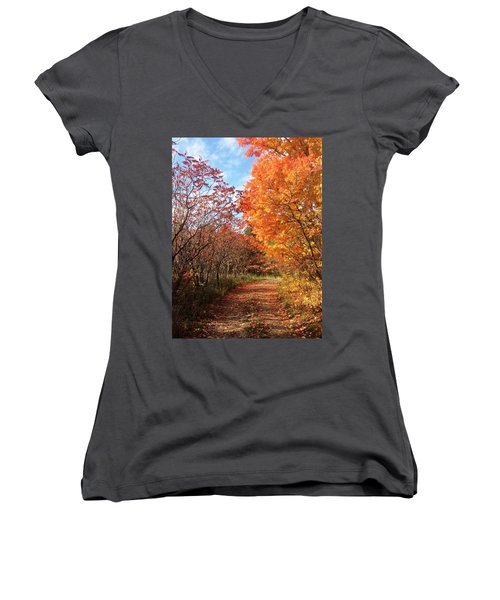 Women's V-Neck T-Shirt (Junior Cut) featuring the photograph Autumn Lane by Pat Purdy