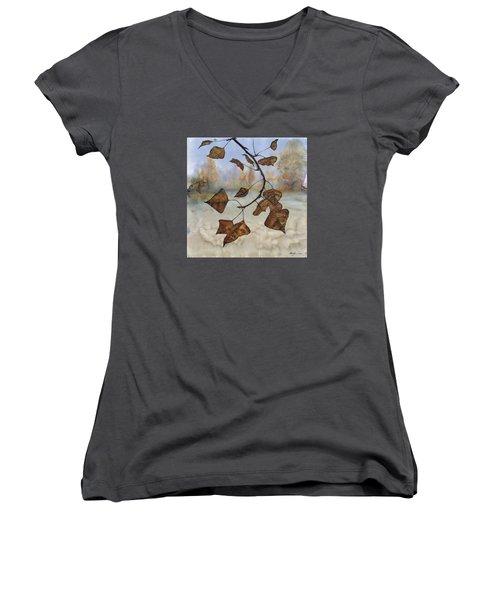 Autumn Leaves Women's V-Neck T-Shirt (Junior Cut) by Carolyn Doe