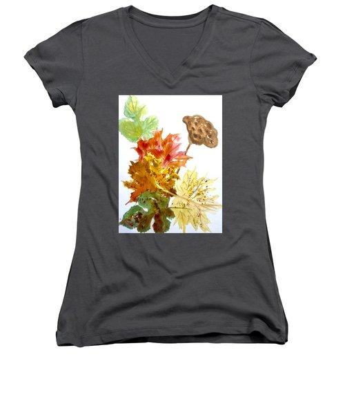 Autumn Leaves Still Life Women's V-Neck T-Shirt (Junior Cut) by Ellen Levinson