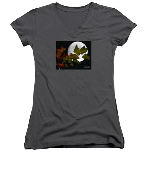 Women's V-Neck T-Shirt (Junior Cut) featuring the photograph Autumn Moon by Patrick Witz