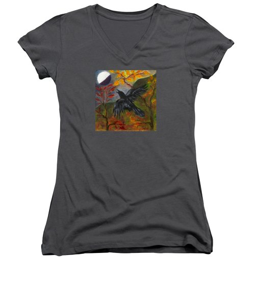 Autumn Moon Raven Women's V-Neck