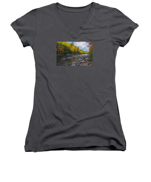 Autumn Morning Light On The Snoqualmie Women's V-Neck T-Shirt (Junior Cut) by Ken Stanback