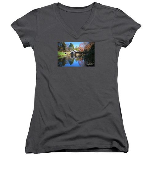Autumn On The Blue Ridge Parkway At Mabry Mill Women's V-Neck T-Shirt (Junior Cut) by Nature Scapes Fine Art