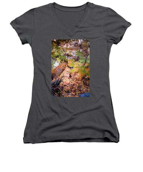 Autumn On The Mountain Women's V-Neck (Athletic Fit)
