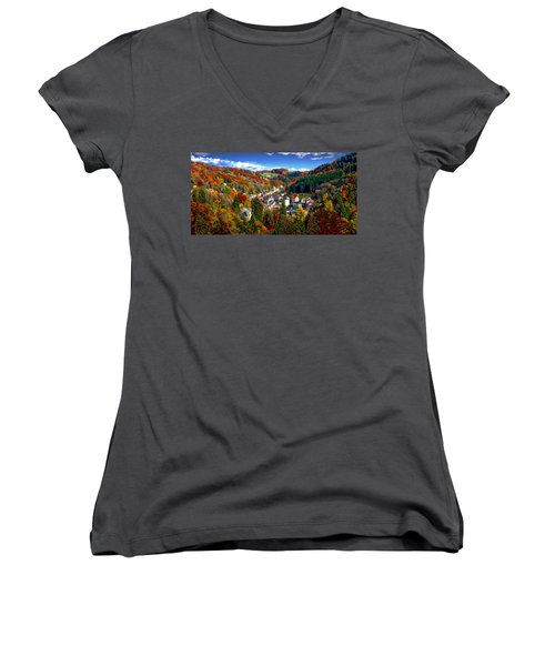 Autumn Panorama Women's V-Neck (Athletic Fit)
