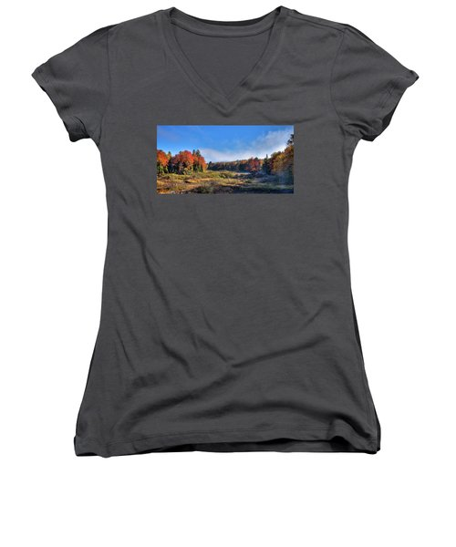 Women's V-Neck T-Shirt (Junior Cut) featuring the photograph Autumn Panorama At The Green Bridge by David Patterson